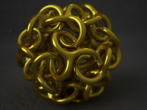 Interwoven Dodecahedron Starball in Polished Gold Steel