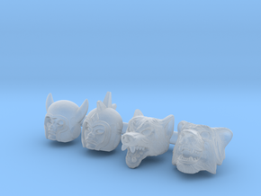 Galaxy Warrior Heads 4-Pack #2 - Multisize in Smooth Fine Detail Plastic: Extra Small