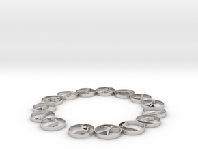 Bangle with 15 yoga poses 66.9 mmm in Rhodium Plated Brass