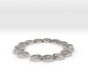 Bangle with 15 yoga poses 57.2 mmm in Rhodium Plated Brass