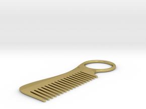 Mustache & Beard Comb in Natural Brass