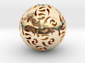 Hollow Sphere 1 in 14K Yellow Gold