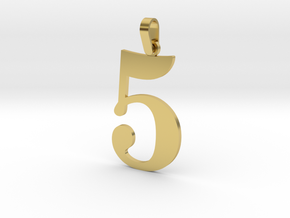 5 Number Pendant in Polished Brass (Interlocking Parts)