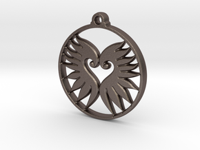 Wings Pendant in Polished Bronzed-Silver Steel