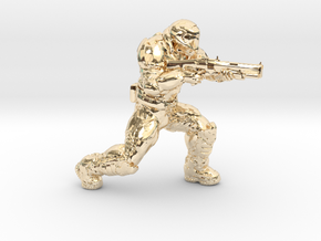 doomguy doom slayer 28mm heroic scale with shotgun in 14K Yellow Gold