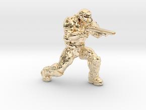 doomguy doom slayer 28mm heroic scale supershotgun in 14k Gold Plated Brass