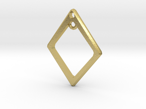 Diamond Charm Frame in Natural Brass