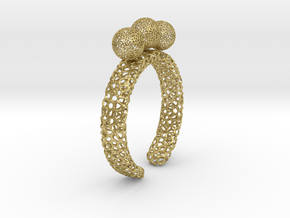 Voronoi fidget ring. Size 5 17.58 mm with three sp in Natural Brass