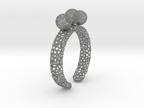Voronoi fidget ring. Size 5 17.58 mm with three sp in Gray PA12