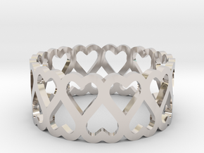 heart symmetric ring size 5 in Rhodium Plated Brass