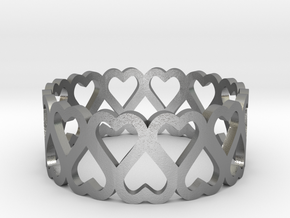 heart symmetric ring size 6.5 in Natural Silver