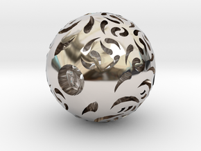 Hollow Sphere 2 in Rhodium Plated Brass