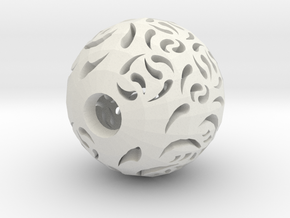 Hollow Sphere 2 in White Natural Versatile Plastic