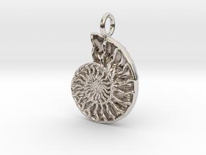 Ammonite Pendant - Fossil Jewelry in Rhodium Plated Brass