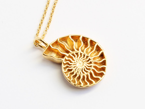 Ammonite Pendant - Fossil Jewelry in 14k Gold Plated Brass