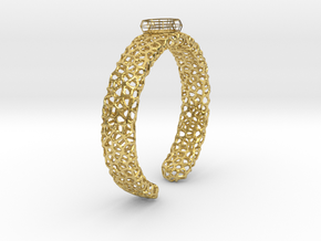 Size 6 voronoi cage ring with spinning voronoi bal in Polished Brass