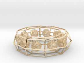 cage ring frame with voronoi ball size 10 (1) in 14k Gold Plated Brass