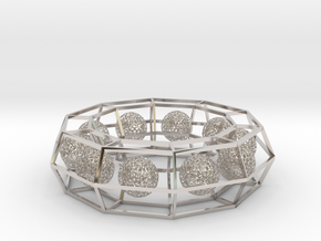 cage ring frame with voronoi ball size 10 (1) in Rhodium Plated Brass