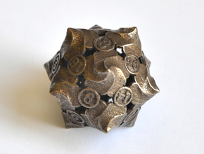 D20 Balanced - Fire (Larger Numbers) in Polished Bronze Steel