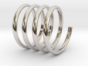spring coil ring size 6 in Rhodium Plated Brass
