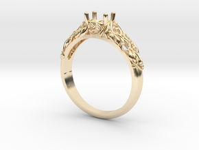 Filigree Engagement Style Solitaire Ring  in 14K Yellow Gold