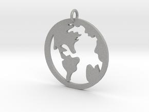 Globe - Necklace Pendant in Aluminum