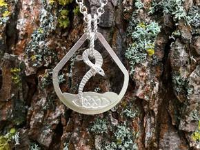 Celtic Zodiac Snake Pendant in Natural Silver