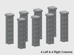 Block Wall - 90 deg Jointed Corner Columns in White Natural Versatile Plastic: 1:87 - HO