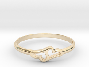 Merging Hearts in 14K Yellow Gold: 6 / 51.5