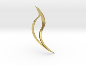 Tusk Earring (Right) in Natural Brass