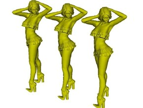1/32 scale nose-art striptease dancer figure A x 3 in Smooth Fine Detail Plastic