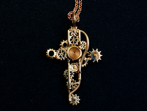 Steampunk Cross Pendant - Christian Jewelry in Polished Bronze
