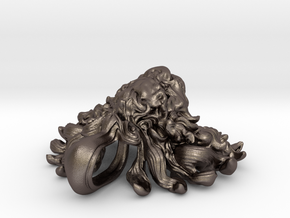 Lion Pendant in Polished Bronzed-Silver Steel