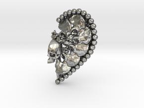 Heart Split Pendant (Right Half) in Natural Silver