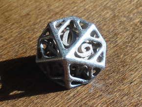 Cage d10 in Polished Bronzed Silver Steel