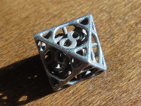Cage d8 in Polished Bronzed Silver Steel
