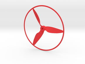 "Drone Propeller - 5"" CCW Pusher With Rim in Red Processed Versatile Plastic"