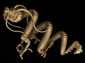 Dragon pendant # 3 in Fine Detail Polished Silver