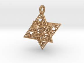 Sierpinski Merkaba Pendant in Natural Bronze