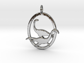 Plesiosaur dinosaur pendant necklace in Polished Silver