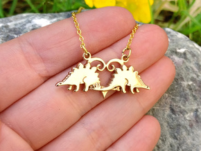 Stegosaurus dinosaur pendant in Polished Bronze