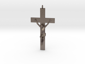 Pectoral Cross in Polished Bronzed-Silver Steel