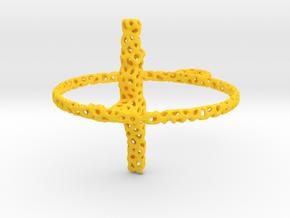three_2_voro_simplified in Yellow Processed Versatile Plastic