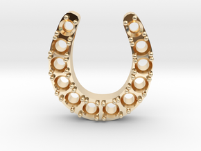 Horse Shoe Pendant With Stones in 14K Yellow Gold