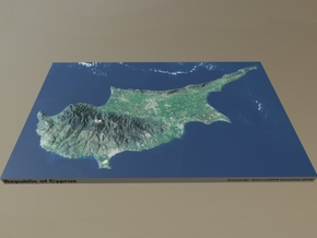 """Cyprus Raised Relief Map: 8.5""""x13.5"""" in Matte Full Color Sandstone"""