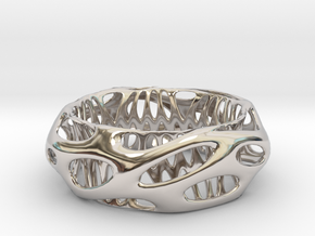 Chunky Voronoi Sterling Silver / Gold Bracelet in Platinum: Small