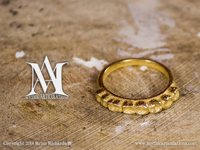 Molar Teeth Ring Size 6 in Polished Gold Steel