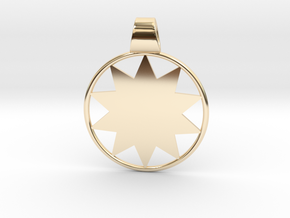 P O W E R  Wheel Pendant - Large in 14k Gold Plated Brass