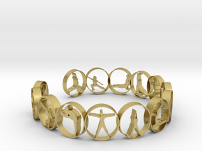 yoga ring 18.11 mm 14 poses in Natural Brass
