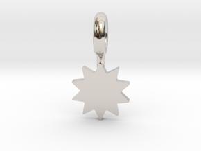 P O W E R Star Pendant in Rhodium Plated Brass